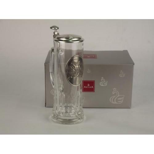 Кружка для пива 0,5 л., h 24 см. HIRSCH стекло/олово