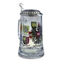 """Кружка для пива 0,5л., h 18см.""""Bundeslander"""" стекло/олово"""