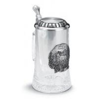 """Кружка для пива 0,5л., h 18см.""""Hirsch"""" (Олень) стекло/олово"""